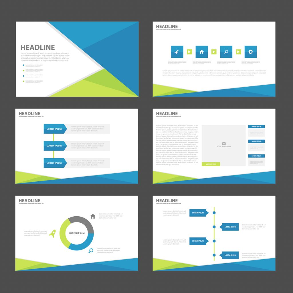 blue, green, and white PowerPoint design with graphs