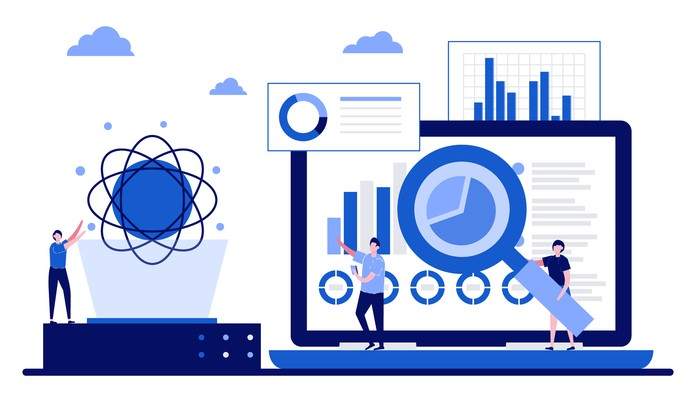 blue infographic showing cloud computing and data analysis